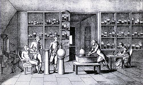 Lavoisier en un experimento sobre respiración en 1770.