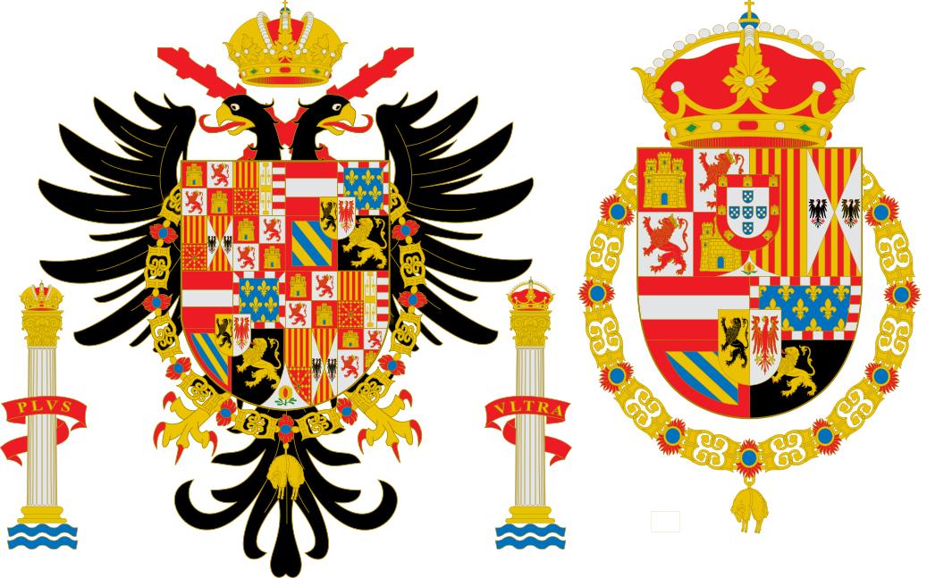 Izqda.: Escudo de Carlos V. Dcha.: Escudo desde Felipe II hasta Carlos II