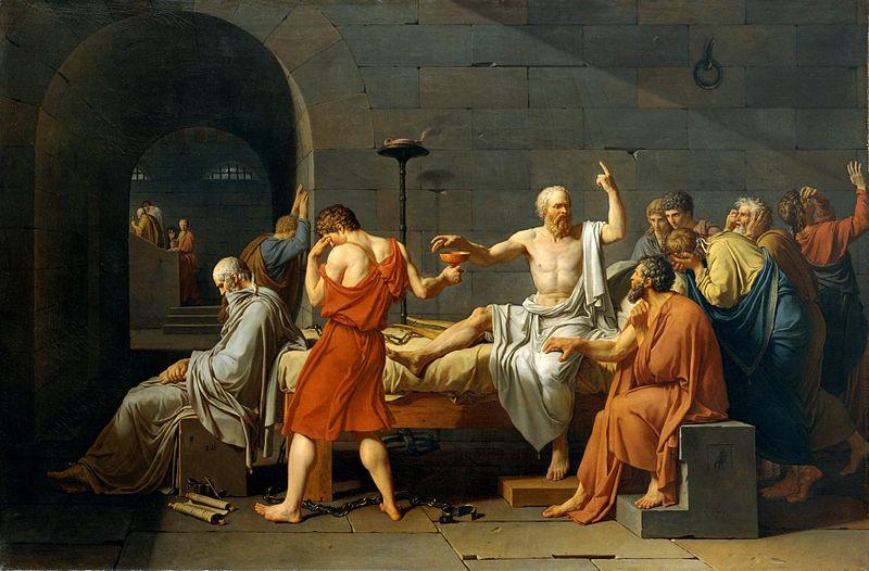 Muerte de Socrates (1787), de Jacques Louis David, en el Metropolitan Museum. Critón ha pedido a Sócrates que huya, pero éste, en medio de la desesperación de sus discípulos, impone sobre ellos su autoridad moral explicándoles que el filósofo debe enfrentarse a todas las circunstacias de la vida, incluso a la muerte, con integridad. Platón dice que él no estuvo presente, pero David lo representa al pie de la cama, como un anciano que reflexiona